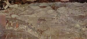"""Ambrogio Lorenzetti, """"Effetti del Buon Governo in campagna"""", 1338-1339, Sala della Pace, Palazzo Pubblico, Siena"""